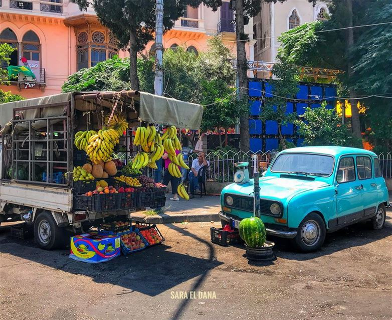 A Fresh Morning!🍒🍌🍇🍋 Ps: the car is part of the decor! 🚙 (Tripoli, Lebanon)
