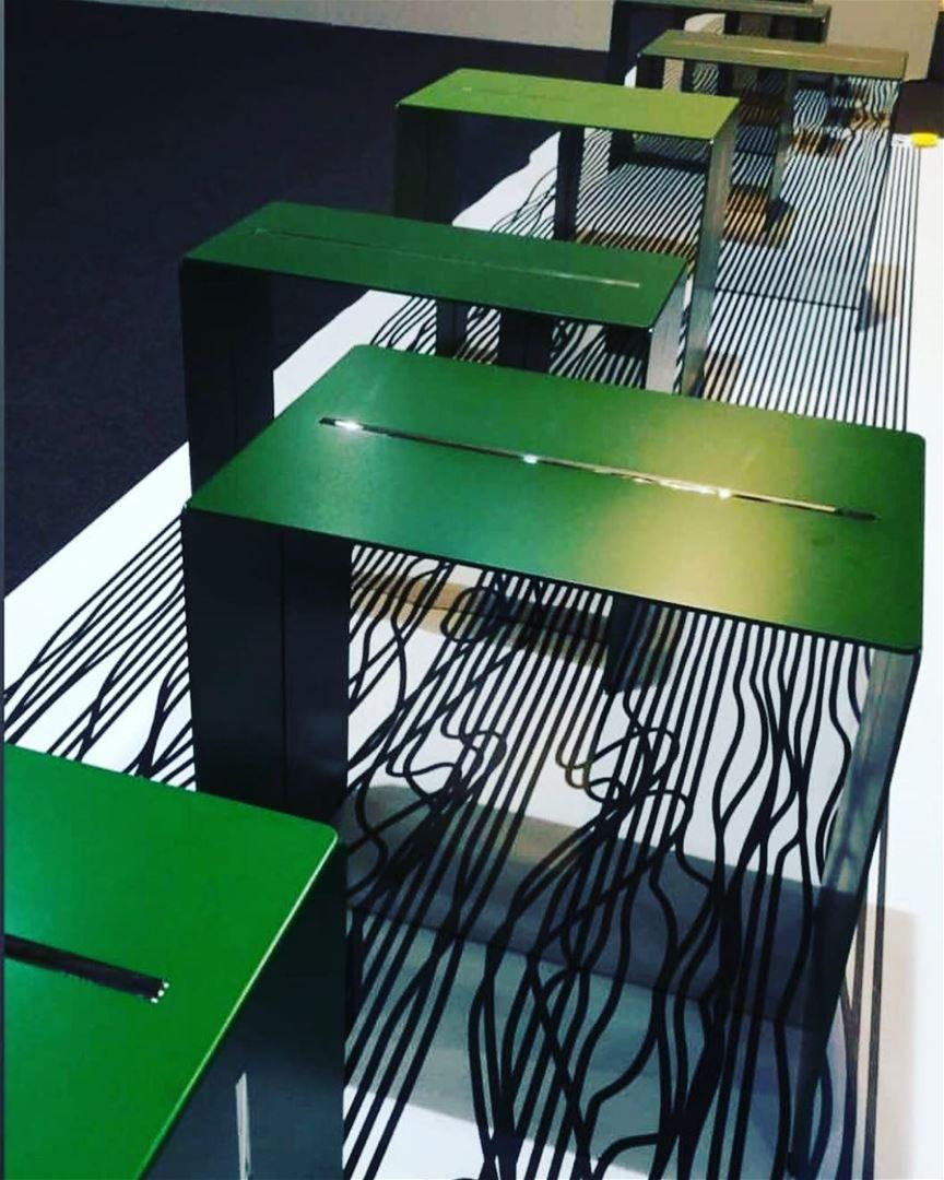 Newton side tables from @anastasianysten stand @beirutdesignfair 2018💚 ⠀⠀⠀ (Beirut, Lebanon)