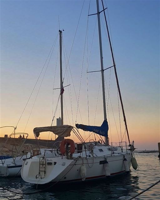 batroun البترون_سفرة sunset boat sailing sailingboat sea ... (Batroûn)