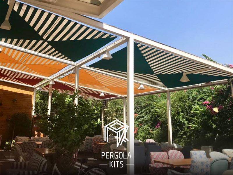 Some of our Summer Fabric Roofing. PergolaKitsLebanon in Jounieh📍....