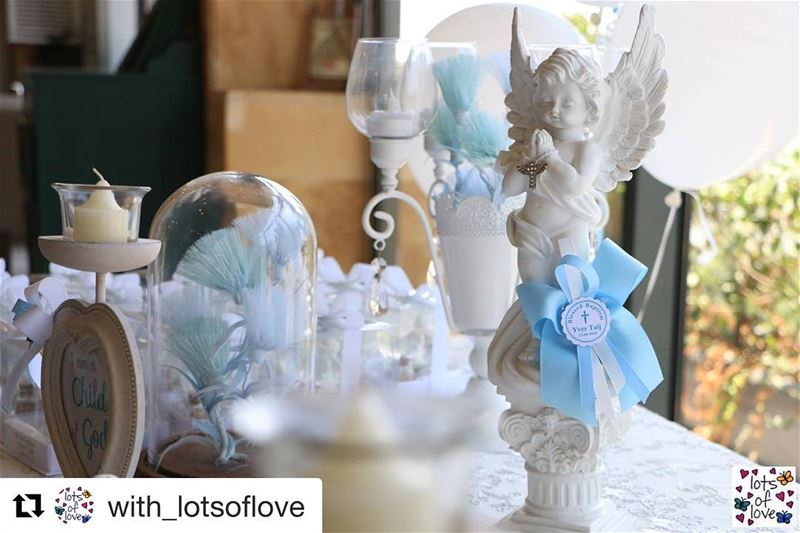 Repost @with_lotsoflove with ・・・Happy Christening YVES TALJ! 👶🏻🕯 For... (ست زمرّد)