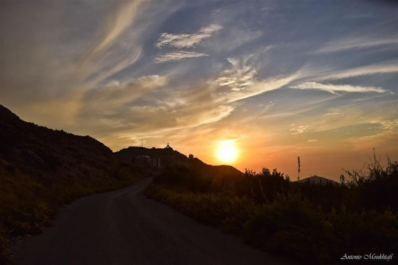 Dark roads often lead to shiny destinations 🌞☁️🍂 sun clouds road ... (Ehden, Lebanon)