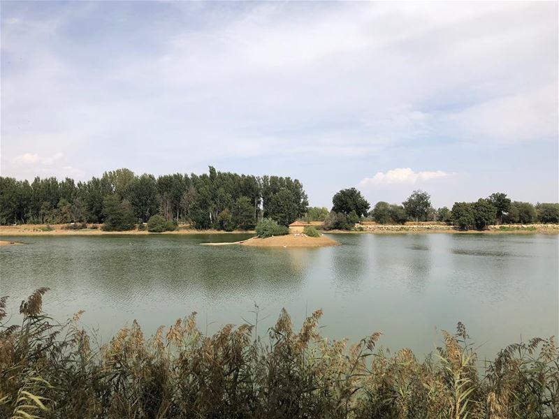 Scène d'automne. lake awayfromnoise serenity landscape autumn season... (Taanayel- Bekaa)