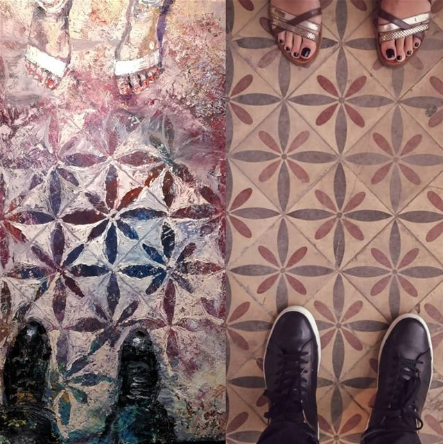 Then and Now  TomYoung  painting Tiles ~1950's vs  myshot ~2018 ... (Sawfar, Mont-Liban, Lebanon)