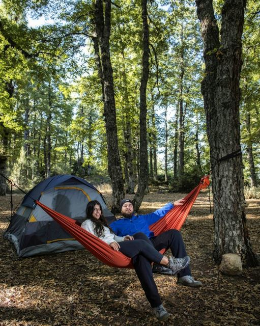 Happiness is U & Me in a WildForest with a Tent & a Hammock 😎👌... (Fnaïdek, Liban-Nord, Lebanon)