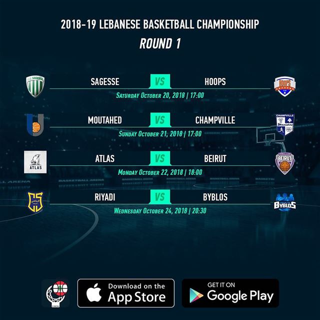 2018-19 Lebanese Basketball Championship - Round 1 Schedule - Download now...