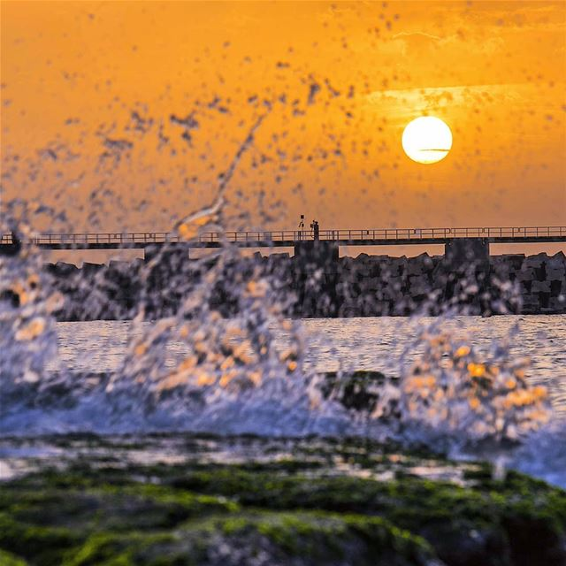 💦🌅 sunset sunsetlovers sea waves sunset_pics instagram instadaily... (Port of Beirut)