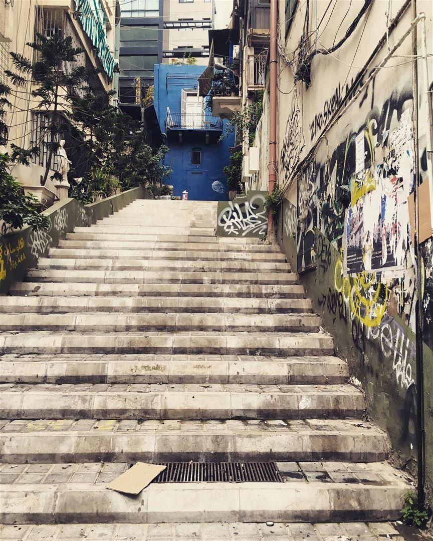 Steps... stairs steps up blue touchofblue gemayze beirut ... (Gemayze)