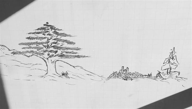 من فينيقيا الى بيروت وجبال الأرز.... drawing freedrawing lebanon cedar... (Beirut, Lebanon)