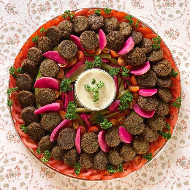 "Who doesn't love falafel!!!! A client, last week, requested a platter of ""J"