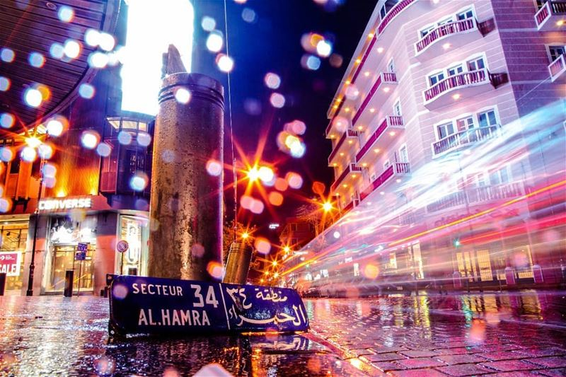 Walking under the rain in Hamra street, reviving the past, passing through...