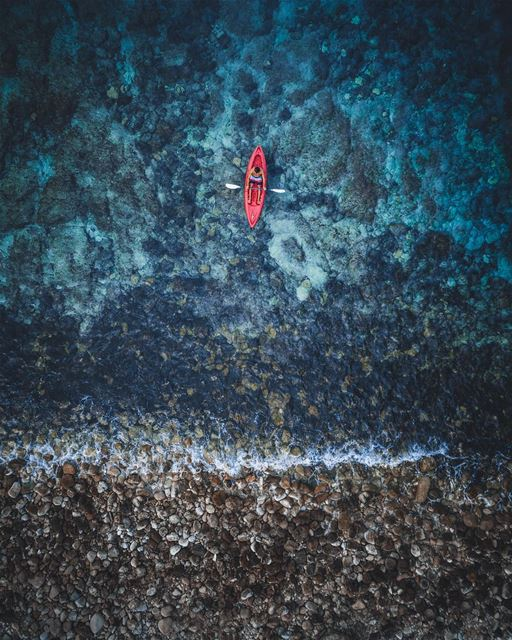 Alone in the ocean 🚣🏻‍♂️Photo taken with @djiglobal Phantom 4... (Batroûn)