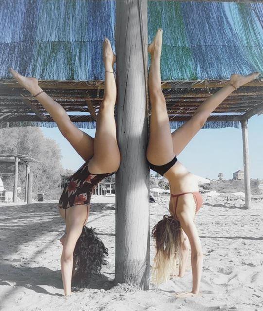 •Handstand variation•.@poliniis. handstand variation beach yoga ...