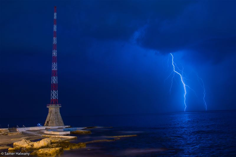 Painting with thunder...taken in beirut lebanon manara thunder ...