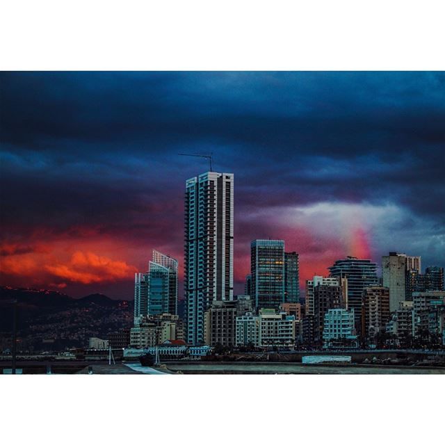 Today's sunset was like fire 🔥 with a 🌈... (Beirut, Lebanon)