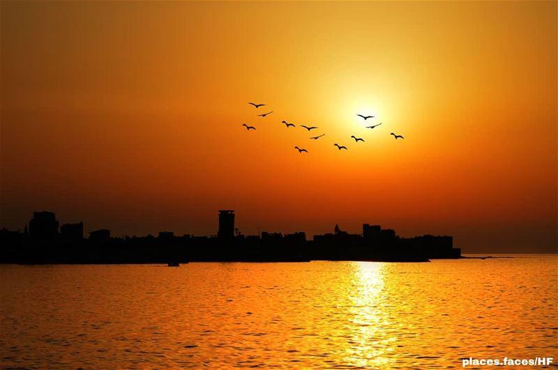تغيب الشمس في مدينة صور بالغصب عنها..كأنها لا تريد الوداع ولكن القدرة الإله (Tyre, Lebanon)