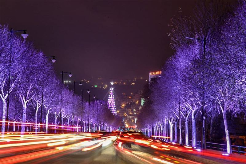 zahle libanon christmastrees night nightlights magic_trees Christmas... (Zahlé, Lebanon)