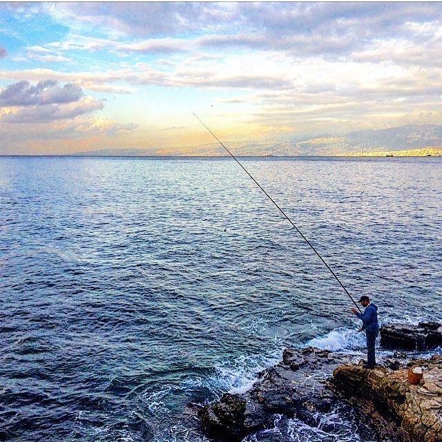 🌊💙💙 landscapephotography fisherman mediterranean sea instalebanon ... (Beirut, Lebanon)