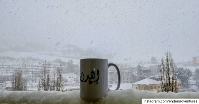 goodmorningworld ehden lebanon snow weather nescafe enjoying warm ... (Ehden, Lebanon)