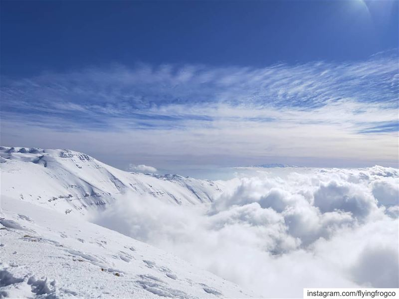 Top view of the storm with Mount Hermon in the background and Mount... (Mzaar Ski Center)