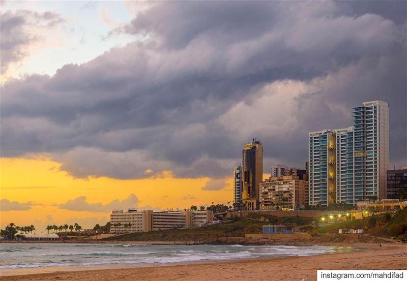 Beirut pysglb Sunset clouds sea lebanon hdr photography nature landscape... (Ramlat Al Bayda', Beyrouth, Lebanon)