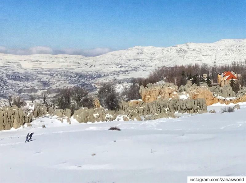 There is just something beautiful about walking on snow .. lebanon white... (Fakra Kfarzebian Liban)