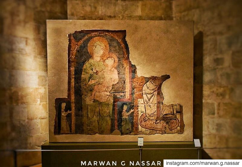 Fresco of The Virgin Mary & Jesus Christ..-Beirut, 13th Century-The... (National Museum of Beirut)