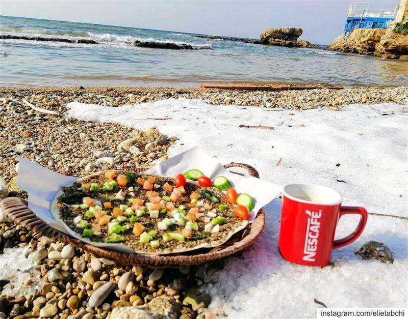 Breakfast in the snow by the sea 😍😍 lebanon  batroun  morning  snow ... (RAY's Batroun)