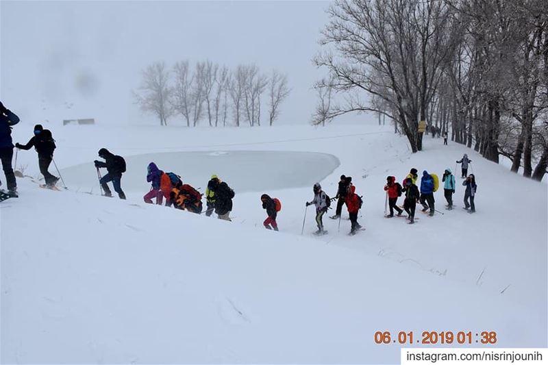 winter2019 wildadvantures2014 hikers laklouk snowshoeing ... (El Laklouk, Mont-Liban, Lebanon)