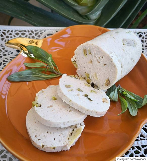 Chicken homemade mortadella with olives. Made only of 4 ingredients...