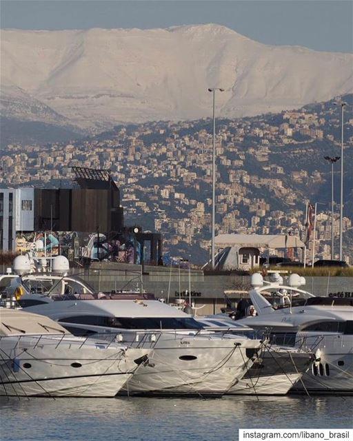 🇱🇧🇧🇷 Desde a marina de Beirute, é possível ver o Monte Líbano nevado... (Beirut, Lebanon)