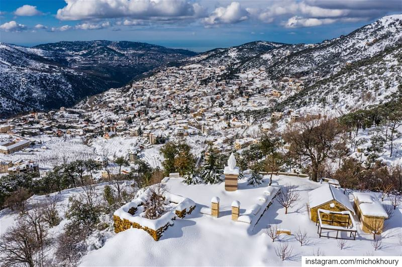 The beauty of my Hometown .... Lebanon  fromwhereidrone  AboveLebanon ... (Baskinta, Lebanon)