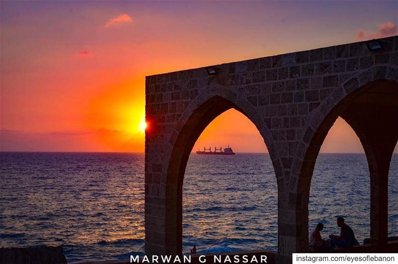 مغيب الشمس من سيدة البحر في البترونCredits to @marwan.g.nassar・・・Even... (Saydet El Baher-Batroun)