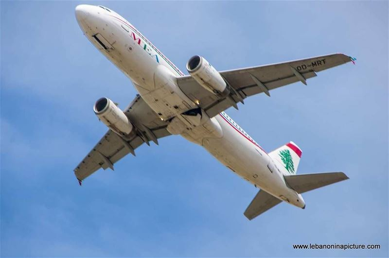 Middle East Airline Plane taking Off from Beirut Rafic Hariri Airport