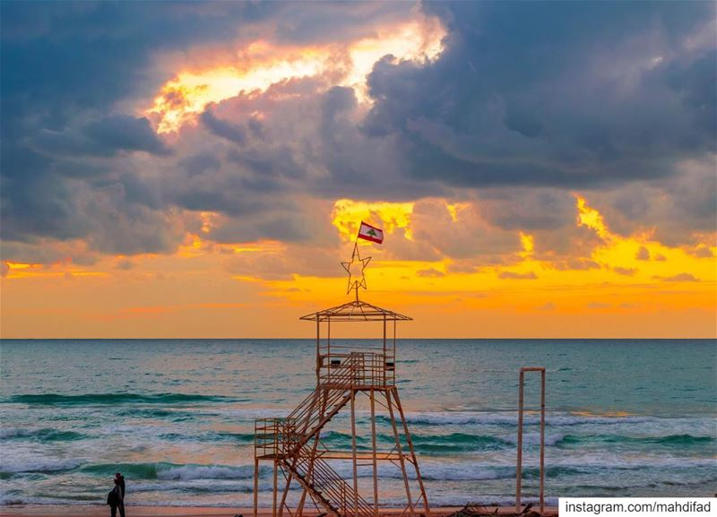 🌅🌅............. Sunset pysglb snow sea beirut clouds... (Beirut, Lebanon)
