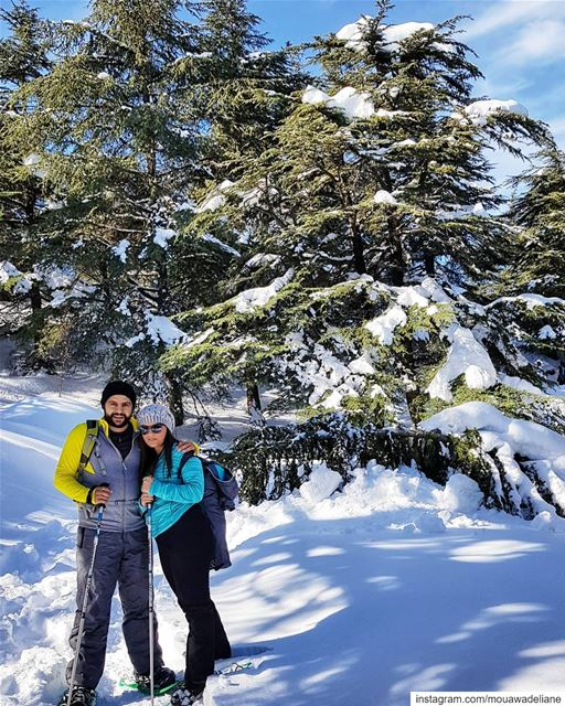 Just think of the view from the ⬆️top... hikingday  snowshoeingtime ... (Hadath El-Jubbah, Liban-Nord, Lebanon)