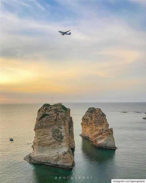 Pigeon's Rocks Welcoming Visitors to the City of Beirut 🇱🇧........ (Beirut, Lebanon)