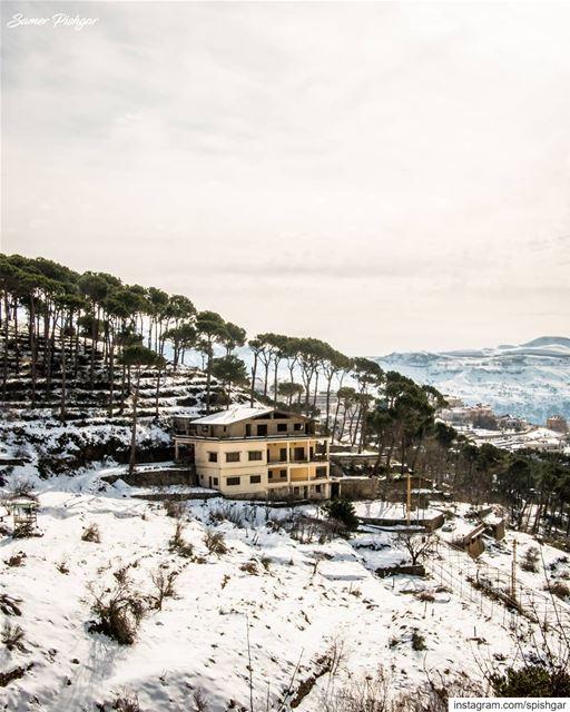 The house on the hill.. 🌳🏠⛄.... Lebanon Lebanese natgeotravel ... (Falougha, Mont-Liban, Lebanon)