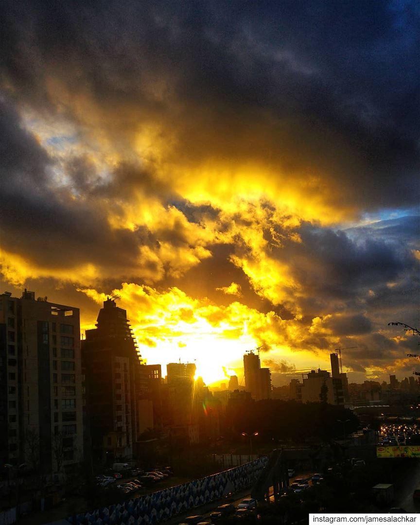 Stormy Sunset 😍 sunset sunsetlovers livelovebeirut beirut ... (Beirut, Lebanon)