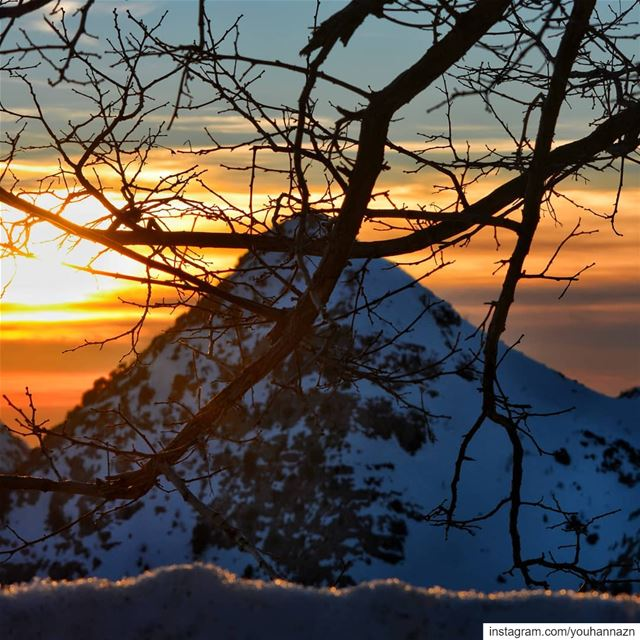 Double decker sunset💥 sunset mountains snow sunset_pics mountain ...