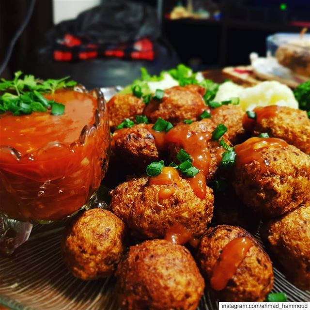 homemade  veggieballs  sweetandsoursauce  foods  foodphotography  foodie ... (Lebanon)