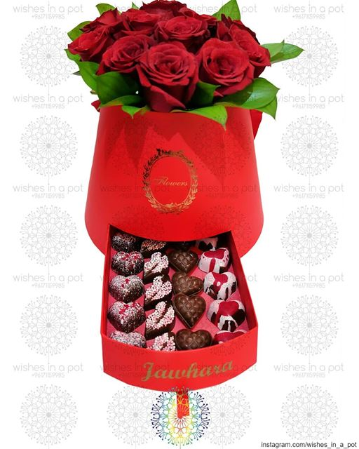 Belgium chocolate in a customized bucket of rosesWish for it now: +961...