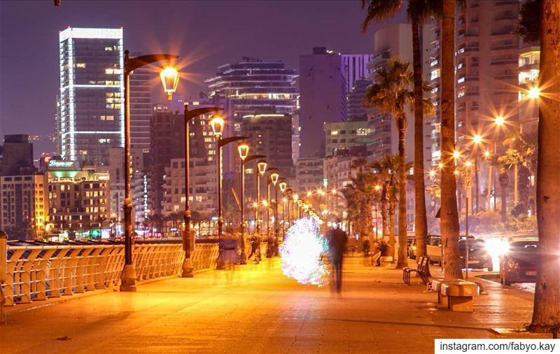 ============================= beirut lebanon nightlights lights... (Corniche El Manara)