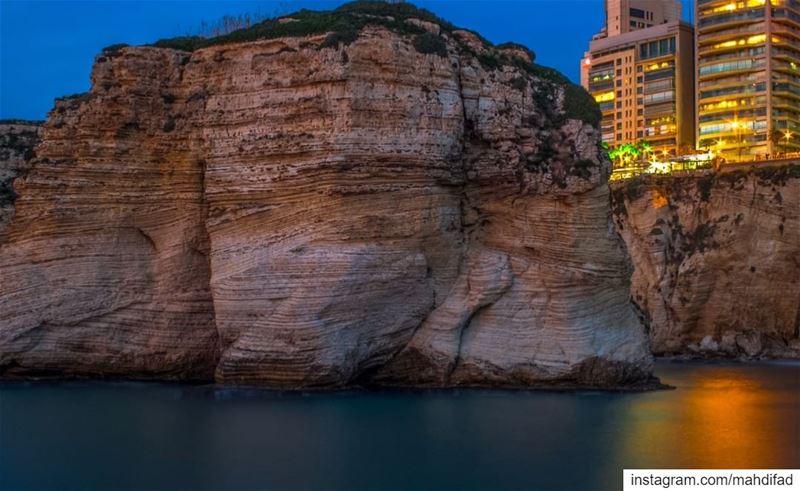 Lebanon Rawche Rocks Beirut sea lights reflection pysglb igers... (Beirut, Lebanon)