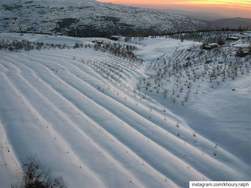 زيح ابيض... snow sunset cold dronestagram dronephotography ... (Qanat Bakish, Mont-Liban, Lebanon)