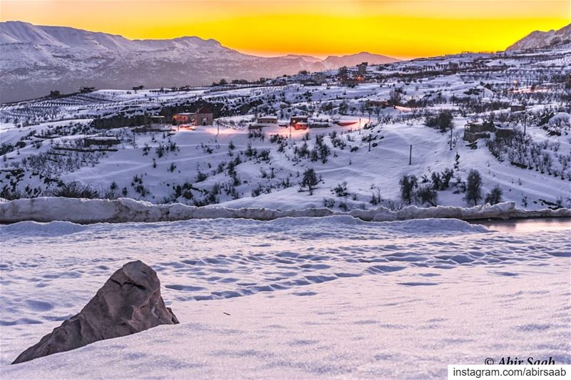 A Sunkissed Snowy Land.. .. lebanon goldenhour snow season igers ... (Akoura, Mont-Liban, Lebanon)