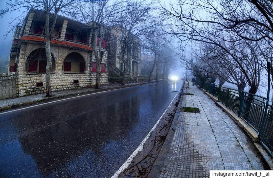 Winter Frames ☁️ landscape winter road roadtrip foggy beautiful ... (Sawfar, Mont-Liban, Lebanon)