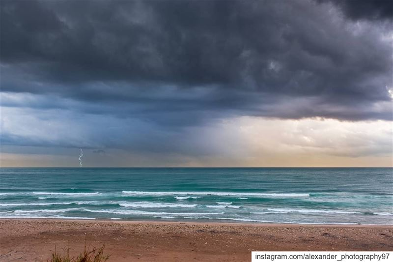 Sunset thunderstorm - last Sunday as dark clouds started dominating the... (Beirut, Lebanon)