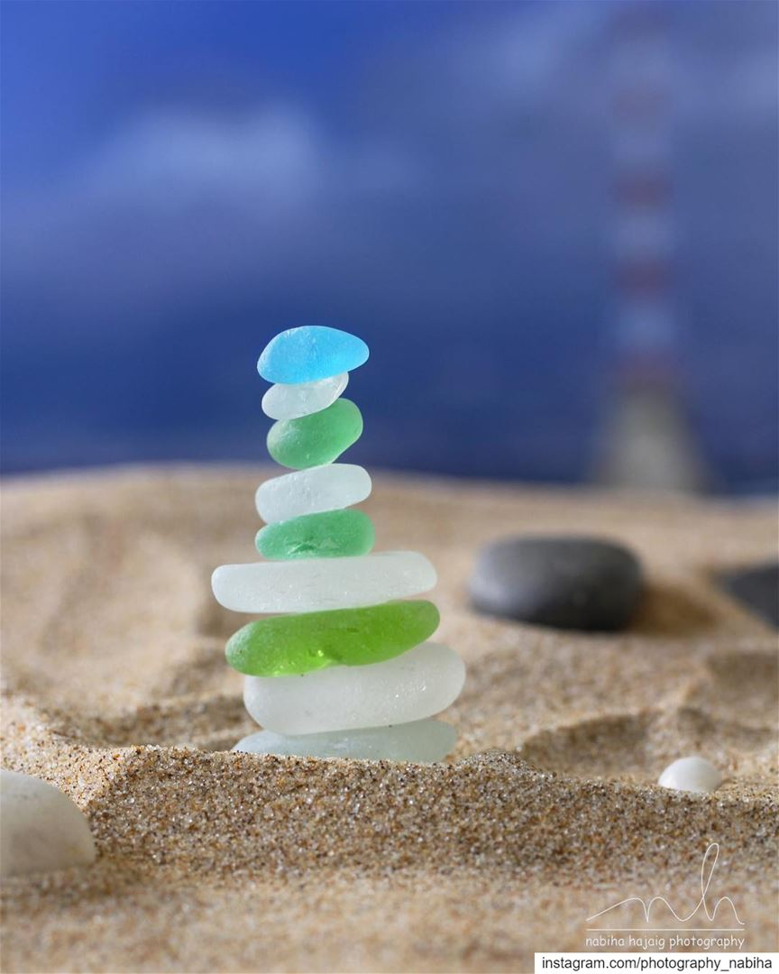 Towering stone seaglass color sea ocean walk sand sports beirut ...