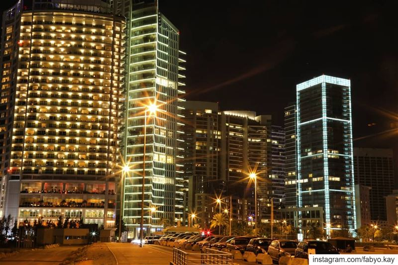 libanon beirut nightlights buildings nightout nightshoot longexposure... (Zaitunay Bay)